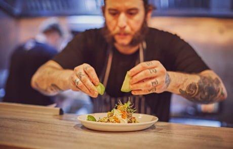 Marks Of Deptford Social Bar Kitchen chef serving tacos